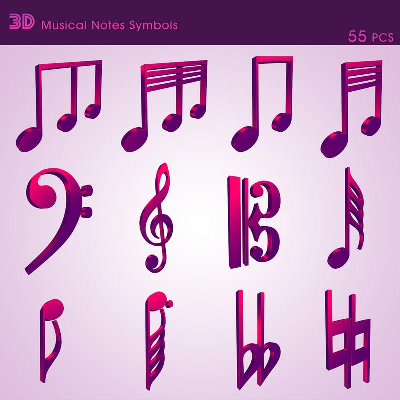 3d model musical notes symbols 55