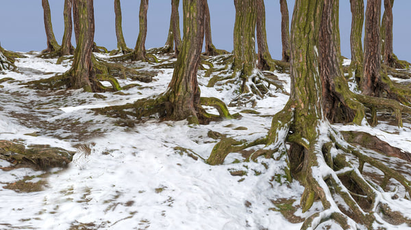 forest winter 3d model