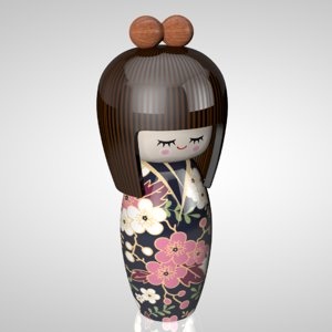 c4d kokeshi doll