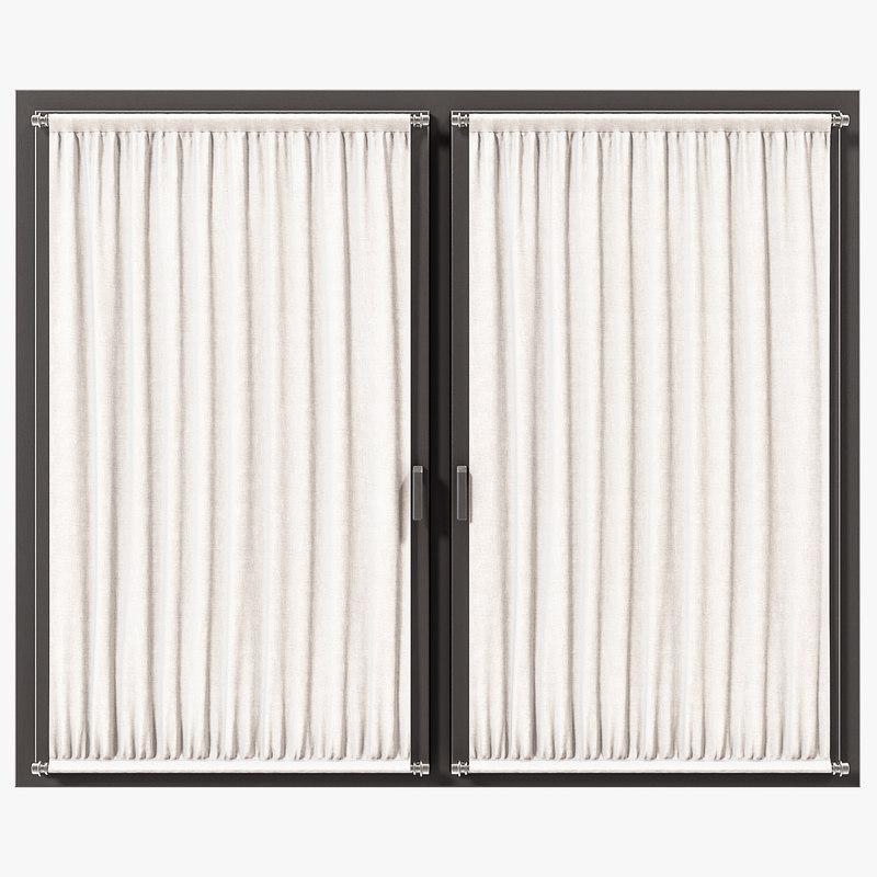 3d model simple curtains