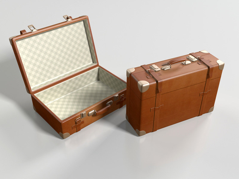 3d model leather suitcase