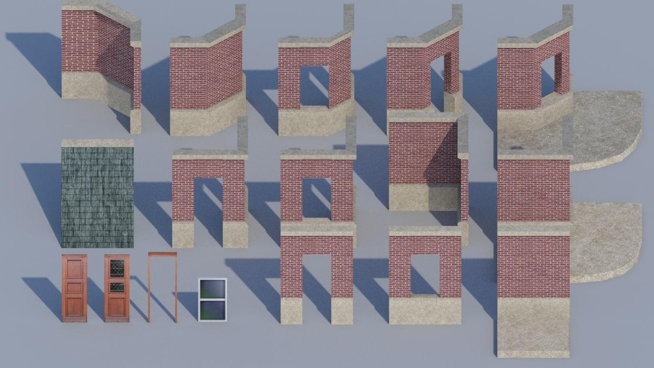 3dsmax modular walls pack