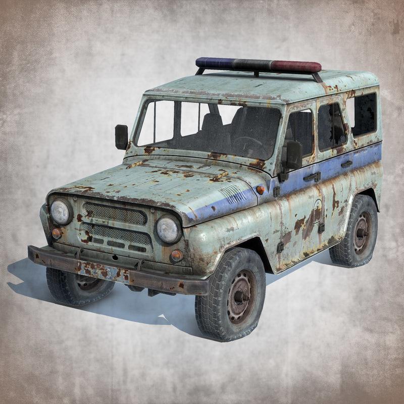 old rusty uaz-3151 police 3d fbx