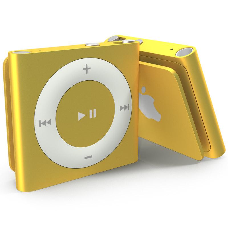 ipod shuffle orange modeled 3d c4d