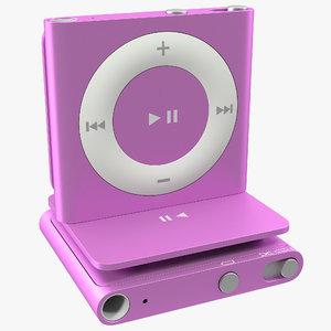 ipod shuffle purple modeled 3d obj