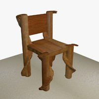 wooden chair ready games 3d model