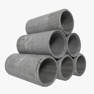 concrete pipe 2 3d max