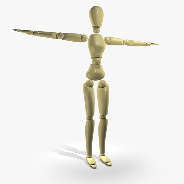 rigged wooden mannequin character female 3d obj