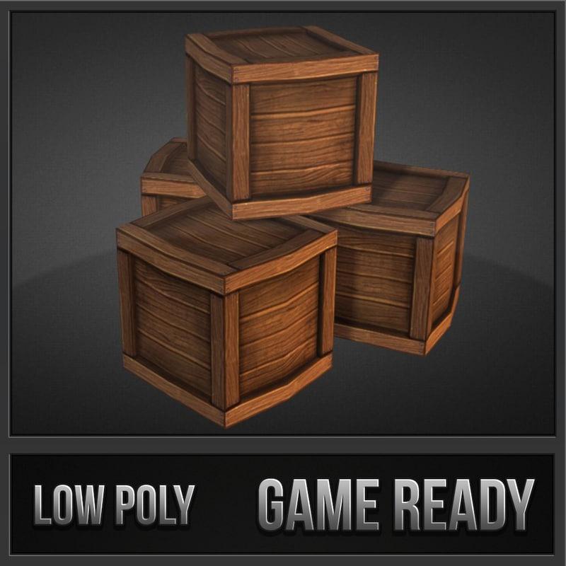3d model crate toon