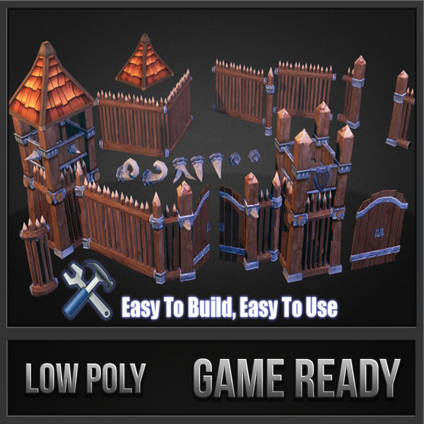 wooden fortress pack fort 3d dwg