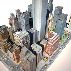 3d city building v-ray