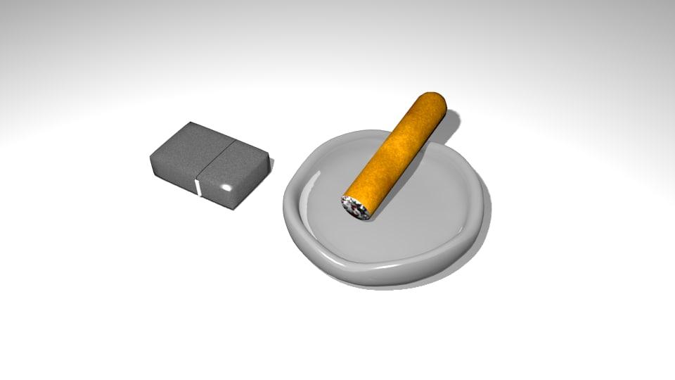 free ashtray cigar 3d model