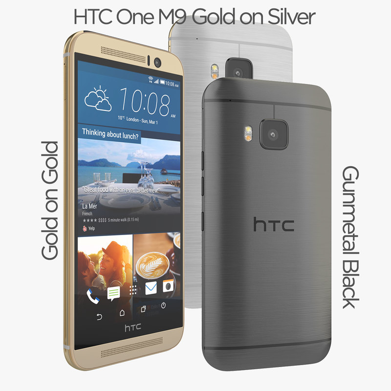 3d model new htc m9 silver