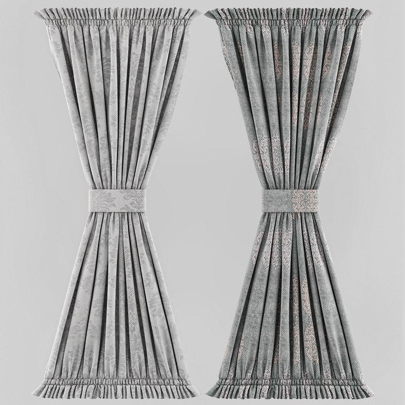 3d model of window curtain