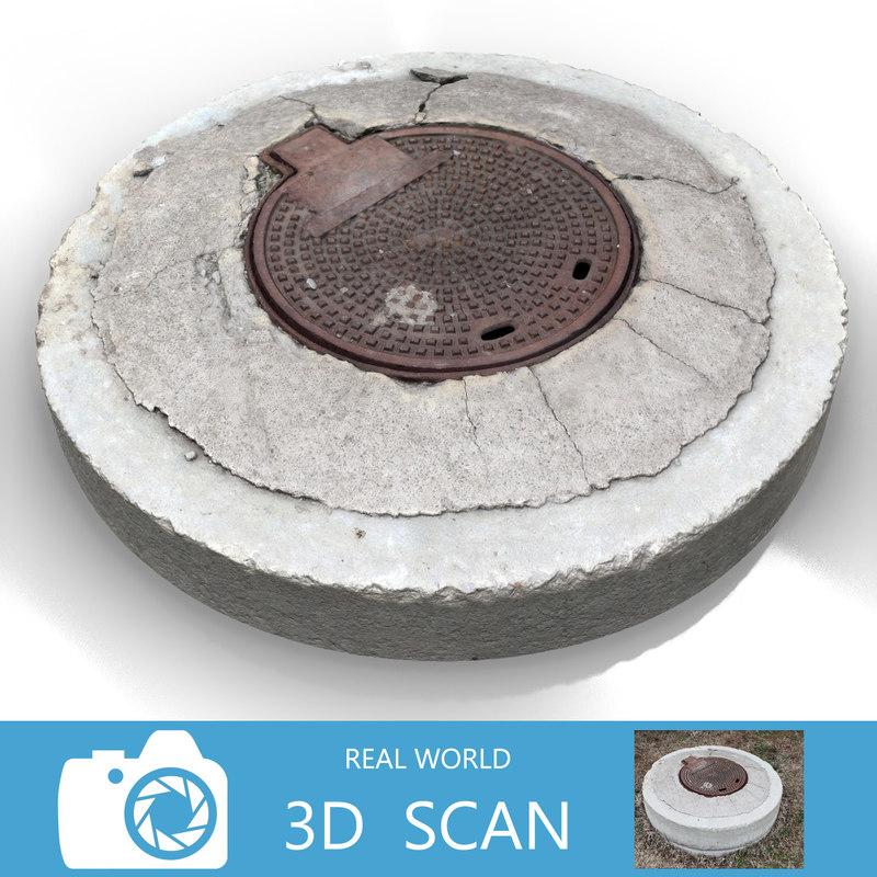 scanned sewer lid obj