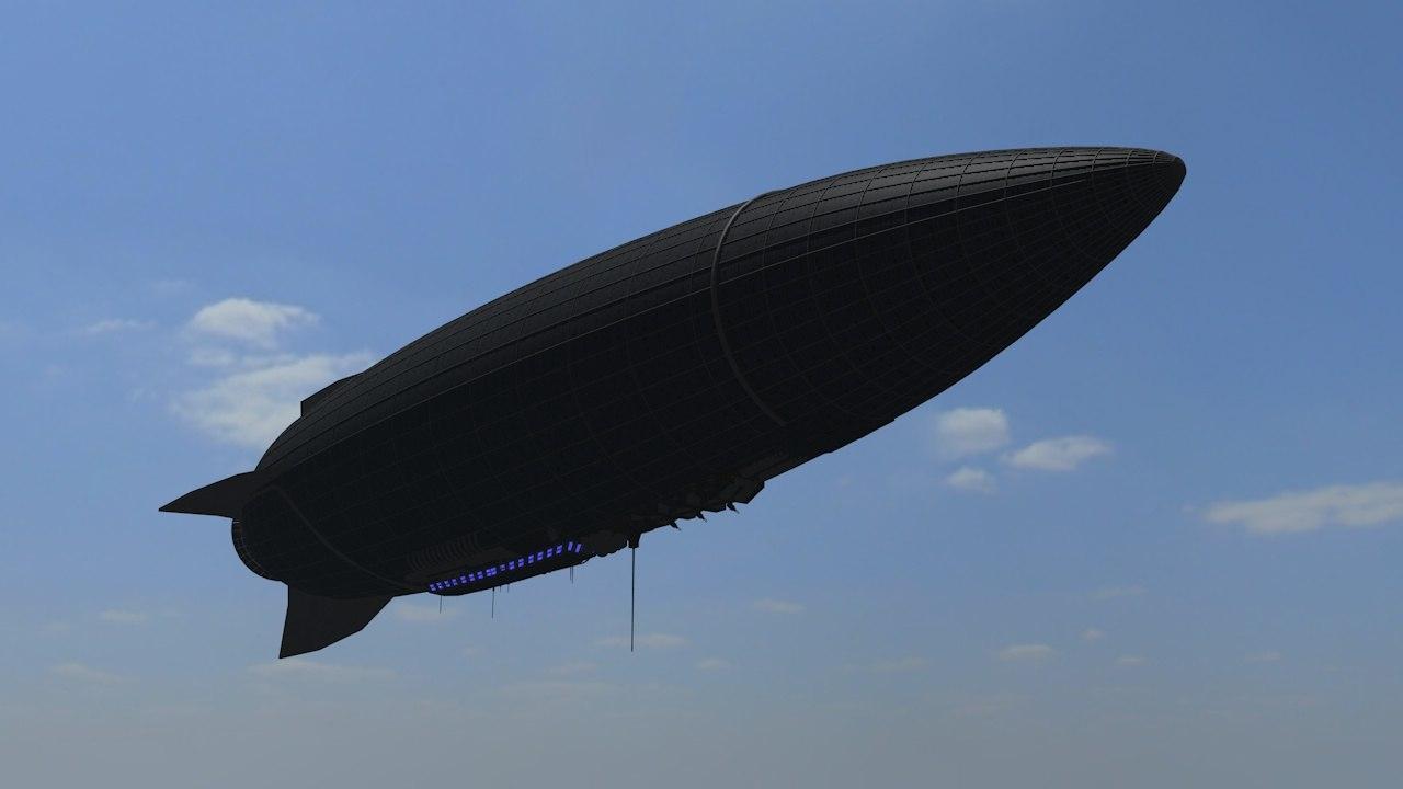 3d futuristic zeppelin sci model