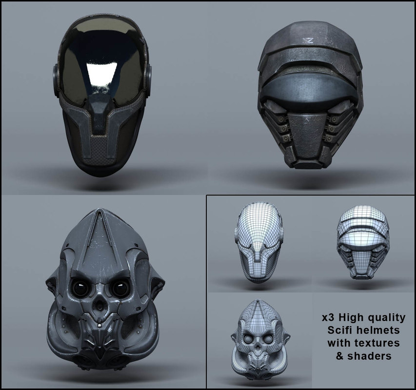 3d scifi helmets -