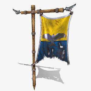 3d medieval banner animation