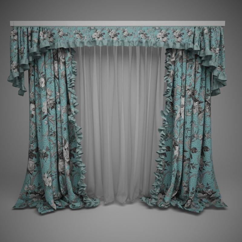 3d max curtains lambrequins