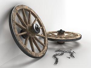 3d model wooden wheel