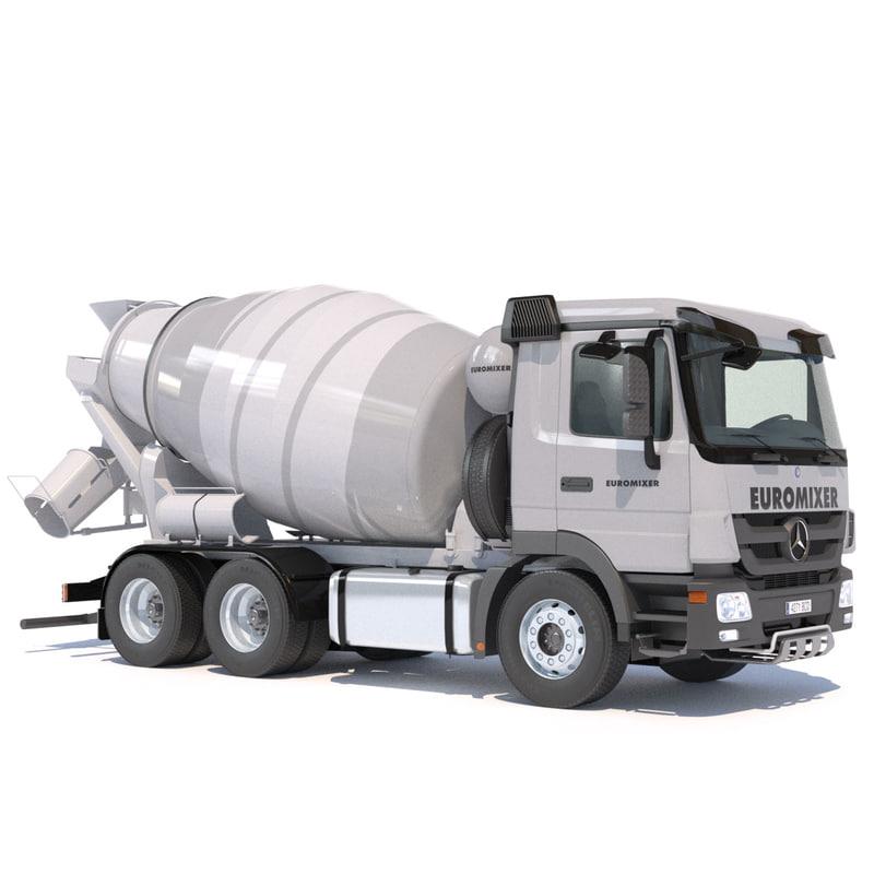 3d lwo mercedes actros cement mixer