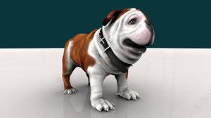 bulldog dog 3d obj