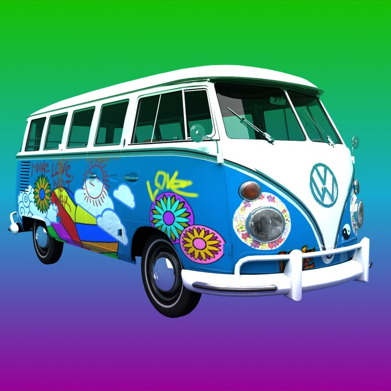 3d transporter hippie van model