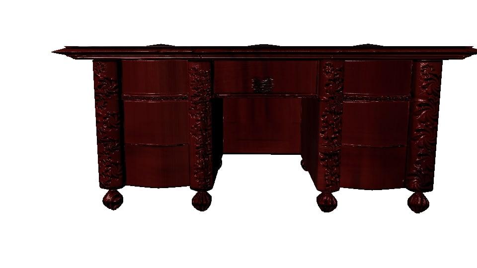vintage desk 3d obj