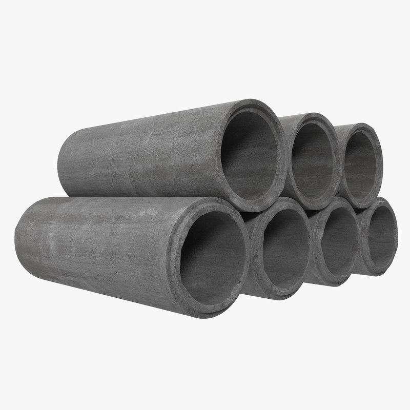 Concrete Drain Pipe : Concrete drainage pipe modeled max