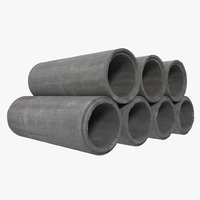 Concrete Drainage Pipe 3D Model