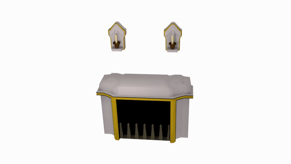 3d model white marble fireplace