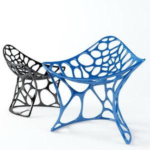 3d model of batoidea designer chair