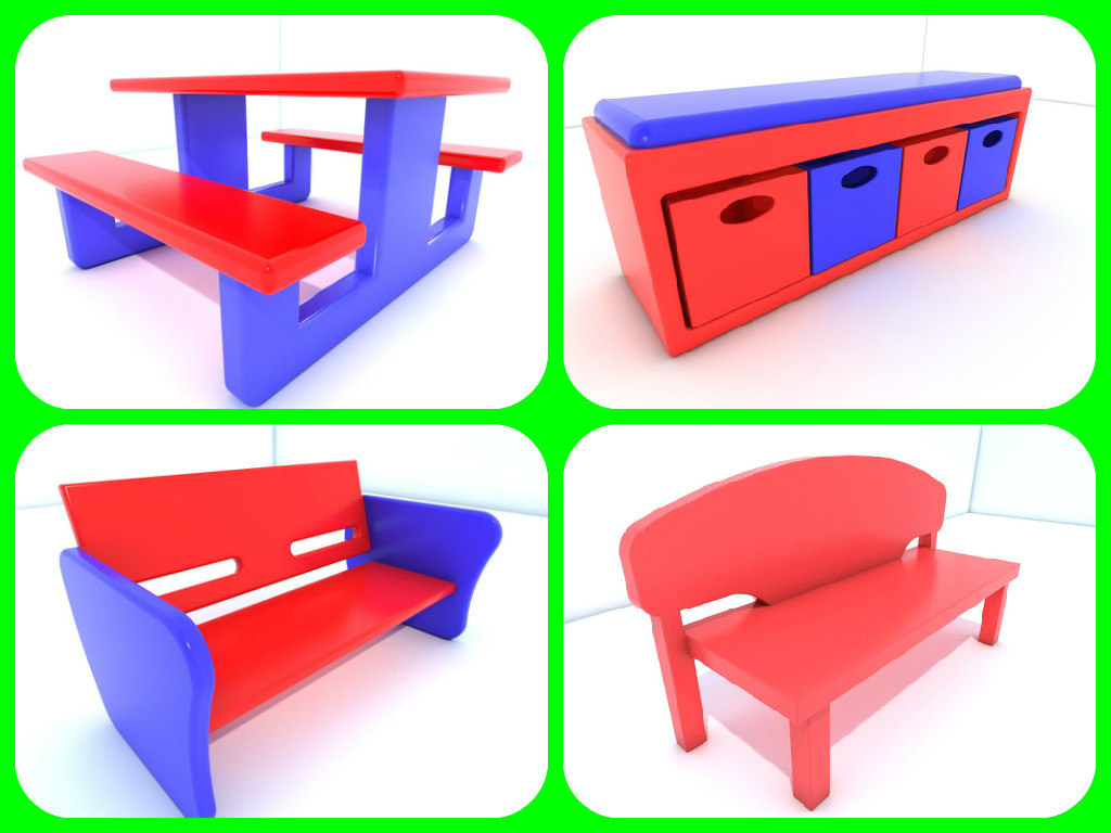 chair set 3d 3ds