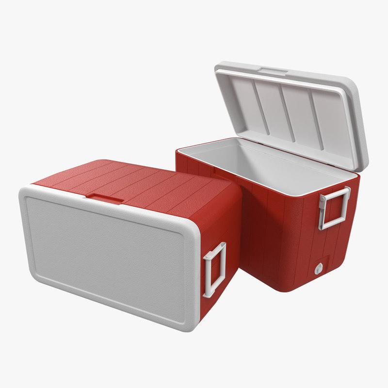48 quart cooler red 3d 3ds