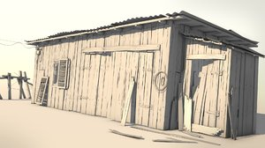 3D woods barn old