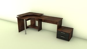 3d model pc table drawers