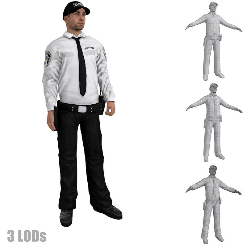 rigged security guard s 3d max