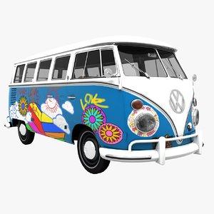 3d transporter hippie van model