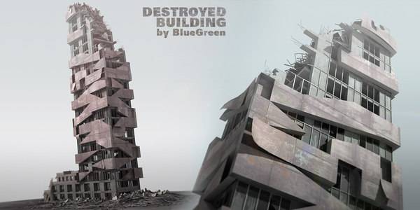destroyed building 3d 3ds