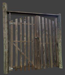 wooden gate 3d 3ds
