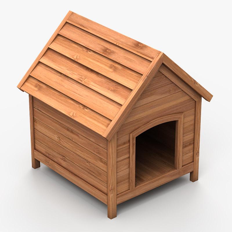 3d model doghouse wood