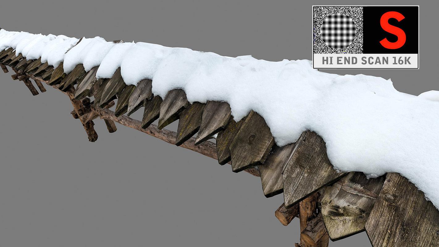 fence snow 3d max