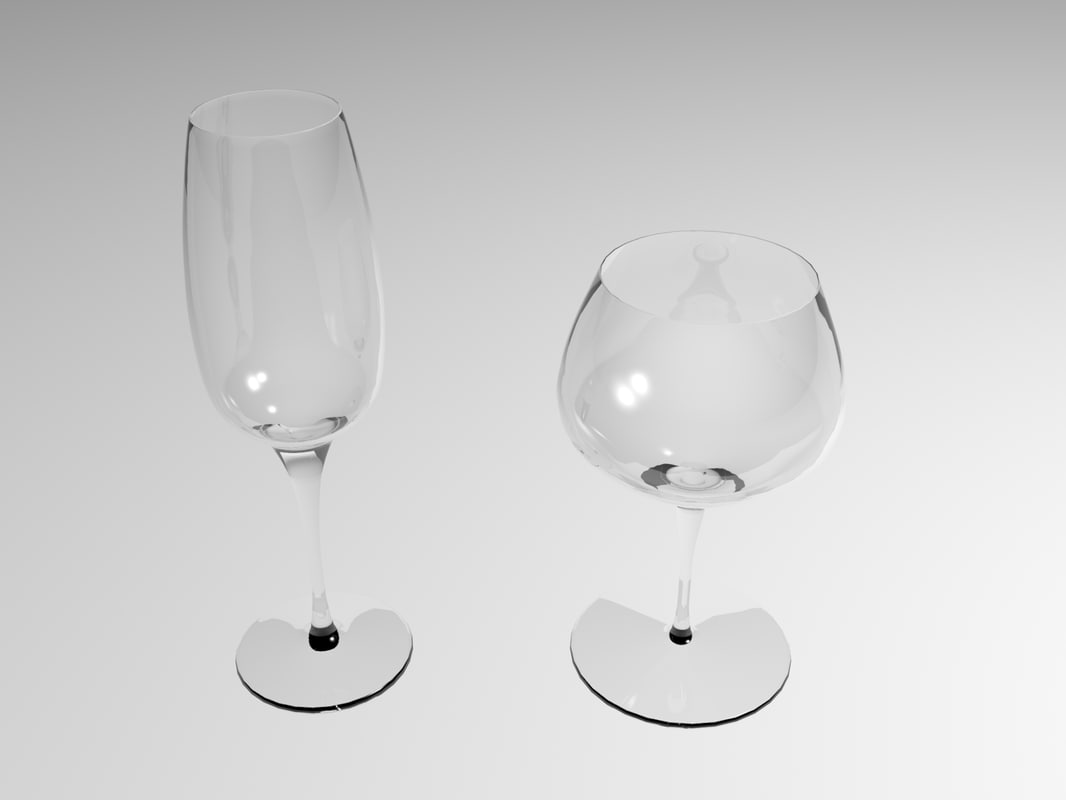 wine glasses 3d max