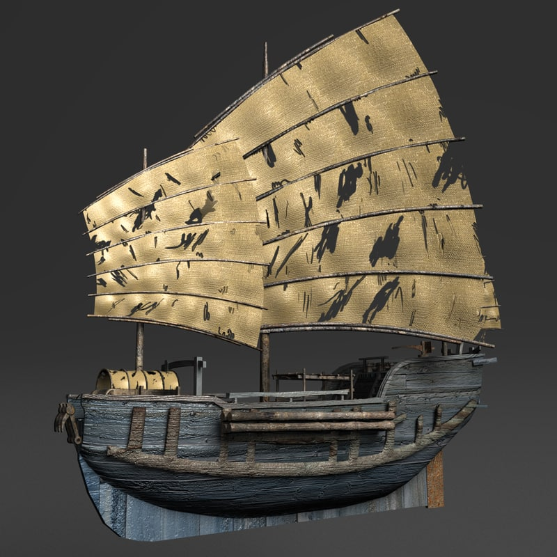chinese junk fishing boat 3d model