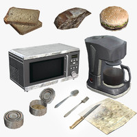 set food content 3d obj