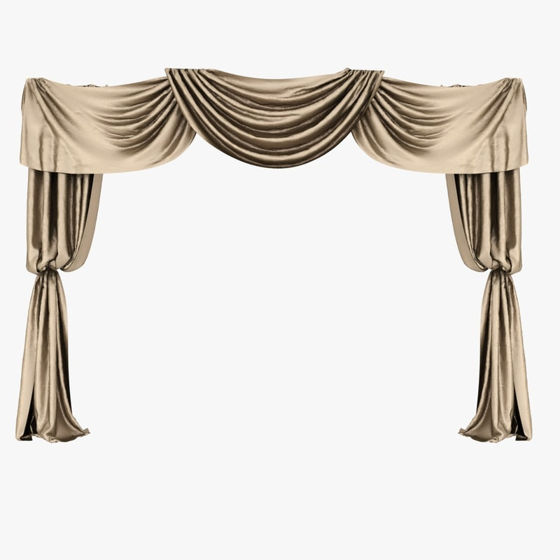 3ds max brown silk curtain