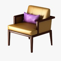 yellow chair violet 3d model