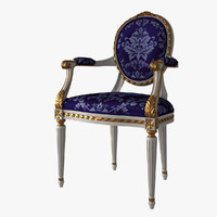 French Louis XVI Oval Dining Chair Arm