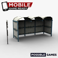 russian bus stop ready 3d model