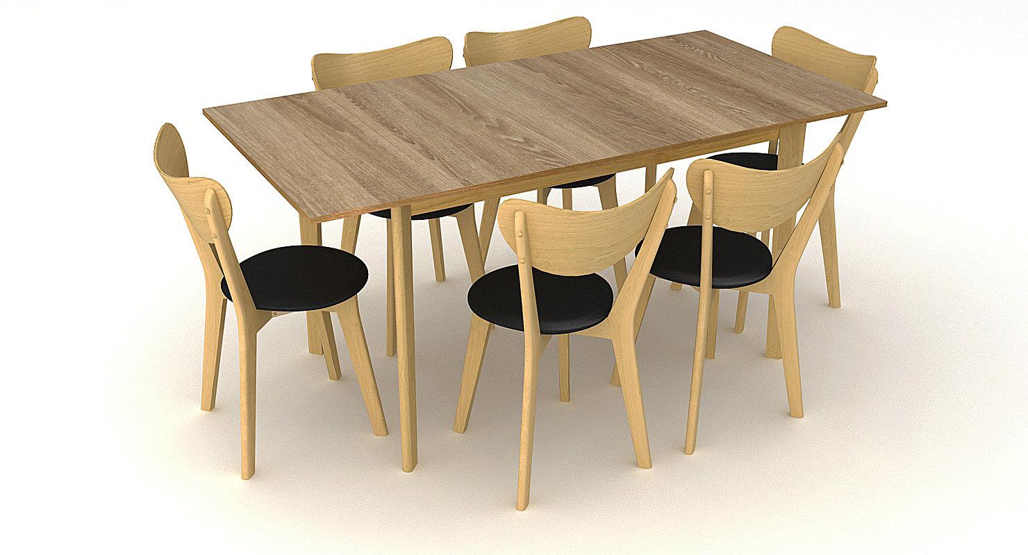 3d merrick oak table chair model